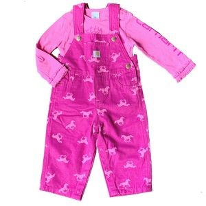 Carhartt Girls Size 12M Pink Horse Overalls Outfit